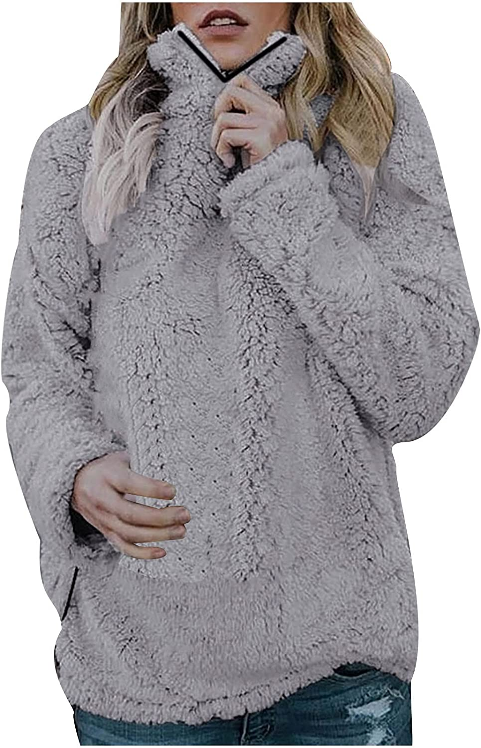 Clearance!! Coat Jacket Women's Autumn and Winter Street Casual Long Sleeve Loose Lapel Plush Top