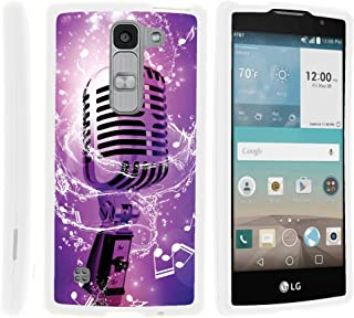 TurtleArmor   Compatible with LG Escape 2 Case   LG Logos Case   LG Spirit Case [Slim Duo] Slim Fitted Compact Hard Protector Snap On Case Rubberized on White Music - Purple Microphone