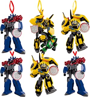 (Set of 6) Transformers Toys Customizable Hanging Holiday Ornaments for Christmas Tree with Autobots Optimus Prime, Bumblebee, Grimlock