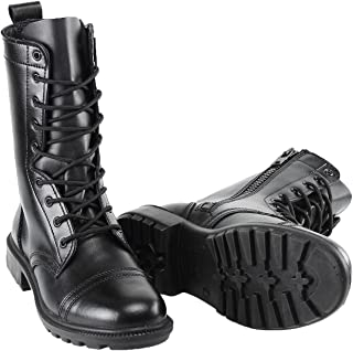 802 Combat Jump Boot (Side Zipper) | Black Unisex High Lace Up Military Paratrooper Style | Mid-Calf Genuine Full Leather for Men and Woman | Slip on Feature | Tall Lightweight Fashion Shoes