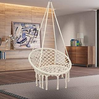 TK Hammock Macrame Chair Swing w/Heavy Duty Hanging Hardware Kit - 200KG Beige 100% Cotton Knitted Mesh Rope Swing Chairs ...