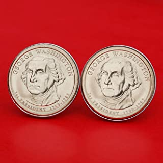 US 2007 Presidential Dollar BU Uncirculated Coin Silver Plated Cufflinks NEW - George Washington (1789−1797 Years Served) Obverses