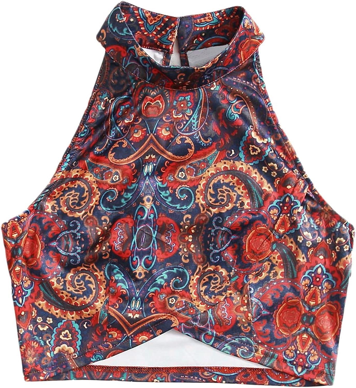 Floerns Women's Boho Print Sleeveless Wrap Front Halter Crop Tops