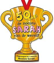 trofee 50 jaar de mooiste Sarah 33 cm karton goud