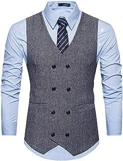 Men's V-Neck Sleeveless Casual Double Breasted Dress Vest Waistcoat
