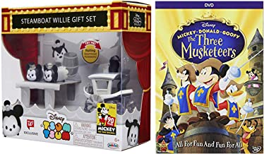 Members of the Musketeers Mickey Donals Goofy Cartoon Movie + Disney Tsum Tsum Mini Mouse Figure Steamboat Willie Gift Set!