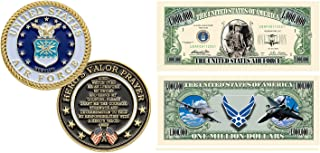 US Air Force United States Air Force Challenge Coin with Prayer 1-Pack (One Coin) Plus Commemorative Million Dollar Bill