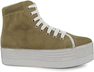 1755b4e375 Jeffrey Campbell hOMG Hi Tops Platform Shoes Womens Sand White Trainers  Sneakers