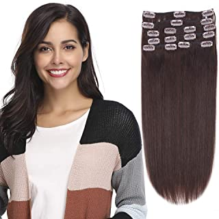 12-22inch Clip in Remy Human Hair Extensions Grade 7A Thick to End Full Head Natural Hair Long Straight 8 Pieces 18clips 105g 20