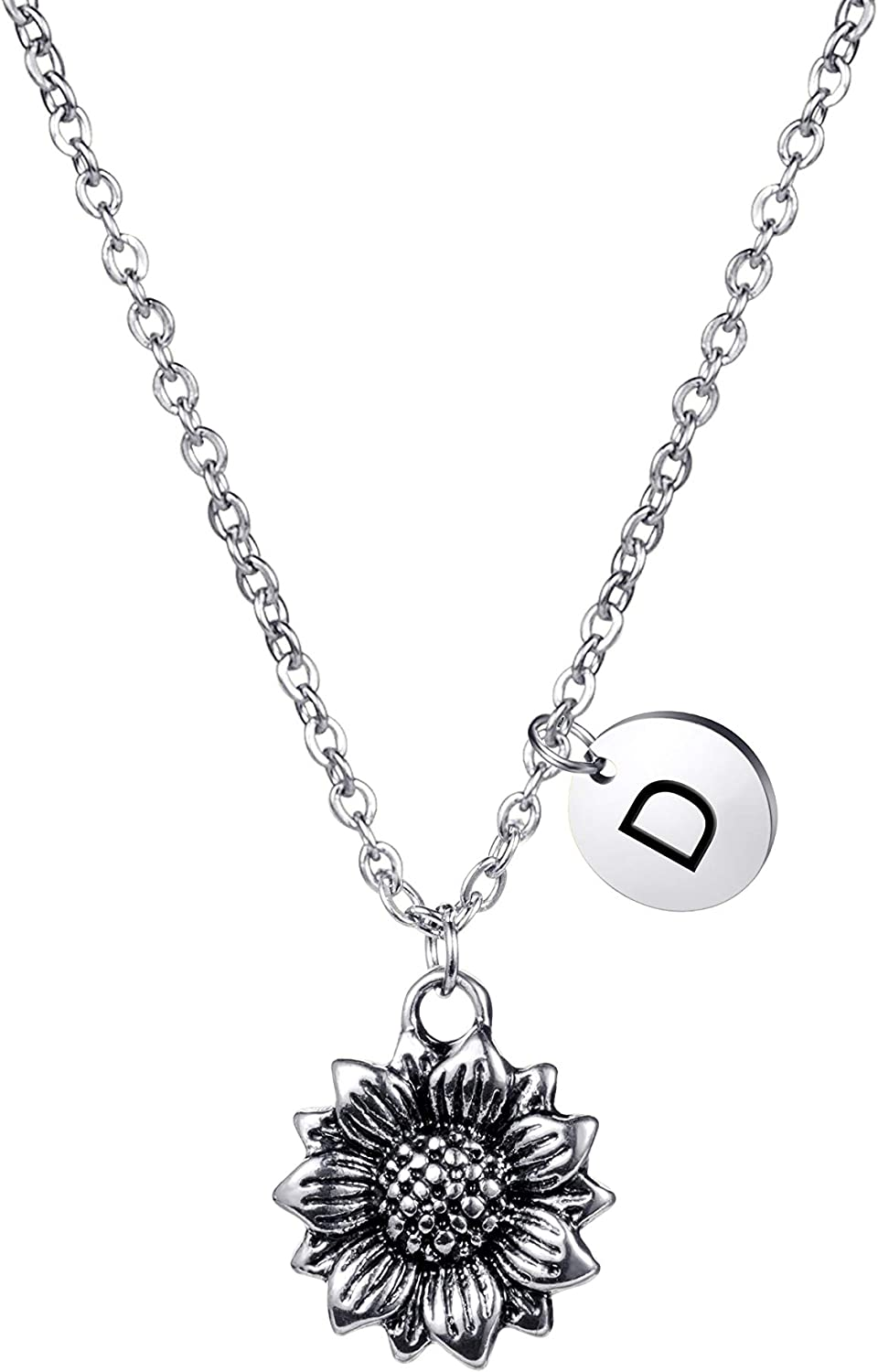 JoycuFF Dainty Department store Antique Silver Personalized Necklace Branded goods Sunflower Cu