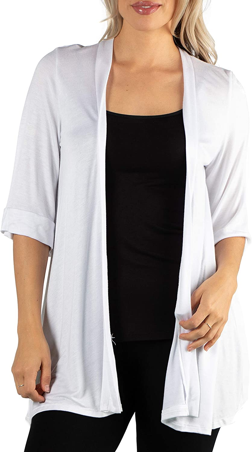24seven Comfort Apparel Womens Long Lightweight Elbow Length 3/4 Sleeve Open Front Cardigan Shrug Made in USA -Small-1X