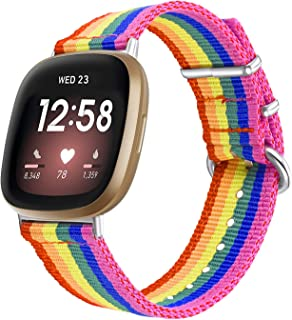 Bandmax Compatible for Series 3 Fitbit Versa Bands LGBT Gay Pride Parade Rainbow Nylon Woven Fitbit Versa Sport Strap Acce...