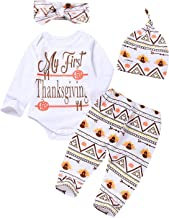 4Pcs Outfit Set 2019 New Baby Girls Boys My First Thanksgiving Bodysuit Turkey Print Pants with Hat and Headband
