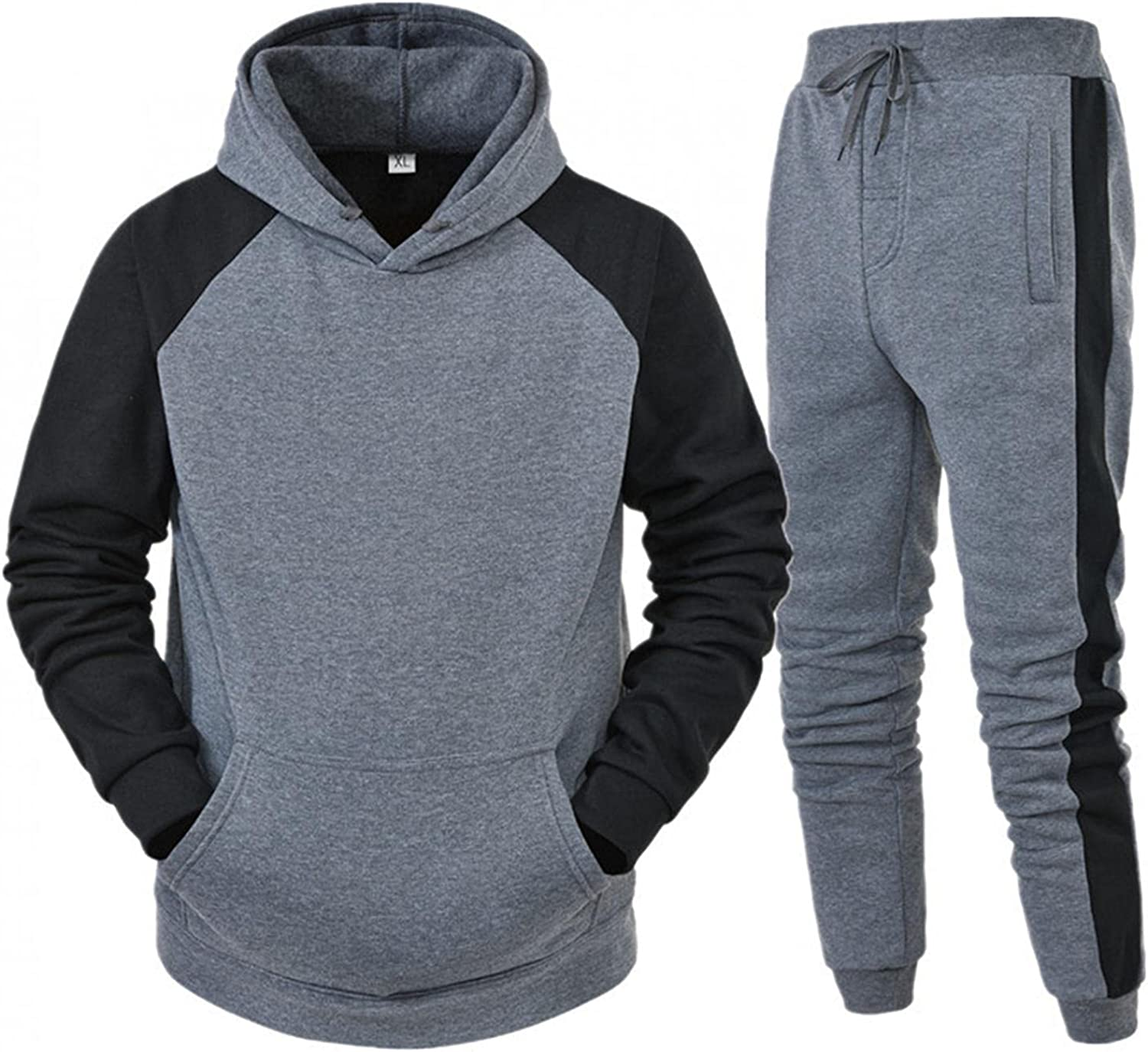 FUNEY Tracksuit for Men Set Casual Long Sleeve Running Jogging Athletic Sports Shirts and Pants Sets for Autumn and Winter