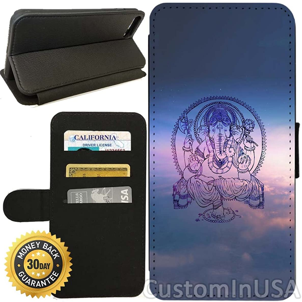 Flip Wallet Case for iPhone 7 Plus (Ganesh Blessing Sky) with Adjustable Stand and 3 Card Holders | Shock Protection | Lightweight | by Innosub