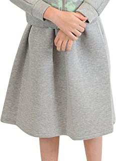 NuVo Little and Big Girls Midi Long Solid Velvet Skirt with Organza Lining Border