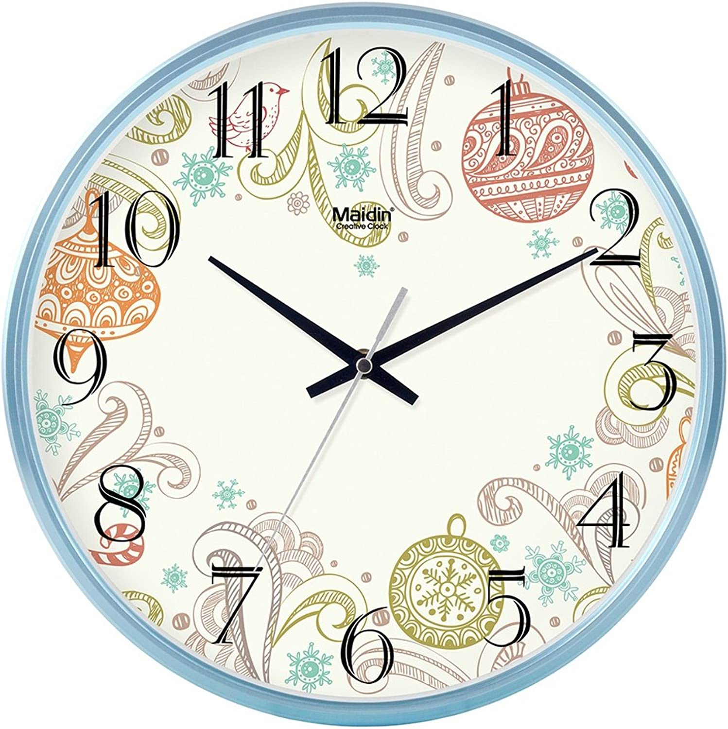Silent Non-Ticking Wall Clock for Living Room (color   bluee, Size   10 inch)