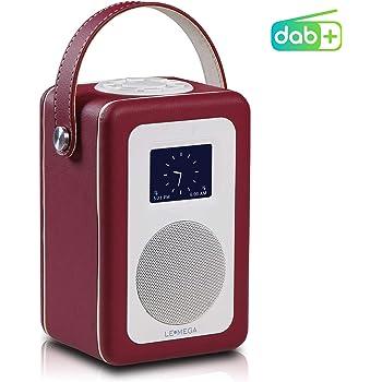 LEMEGA M1+ Radio Numérique Portable avec Dab, Dab+, Radio FM, Bluetooth, Horloges Et Alarmes Cuir Rouge