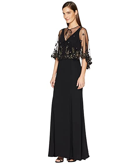 312ed0871ce Marchesa Notte V-Neck Crepe Gown w  Beaded Cape at Luxury.Zappos.com