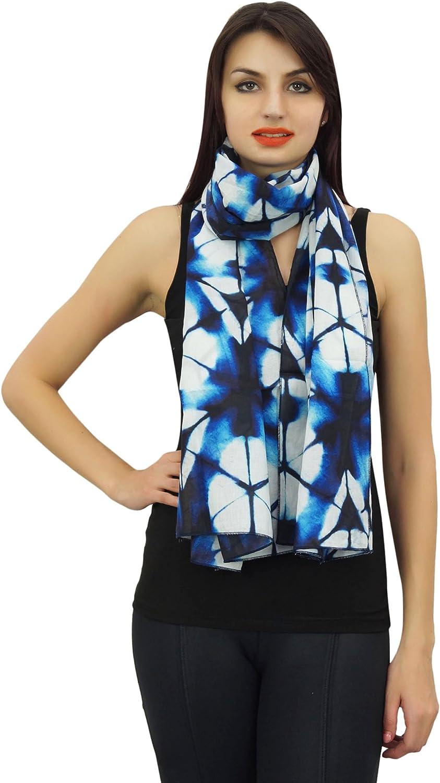 Phagun Women Neck Wrap Long Shibori Printed 100% Cotton Lightweight, Shawl, Scarves Scarf-28x72 Inches