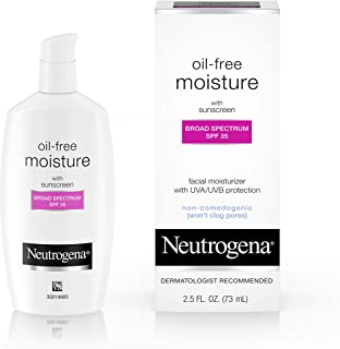 Neutrogena Oil-Free Daily Long Lasting Facial Moisturizer & Neck Cream with SPF 35 Sunscreen & Glycerin, Non-Greasy, Oil-F...