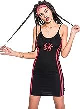 Chinese Stripe Dress Women's Boydcon Mini Strappy Fashion Vest Tumblr Japanese Kawaii