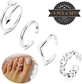 FIBO STEEL 3-9 Pcs Open Toe Rings for Women Girls Arrow Tail Band Toe Ring Adjustable …