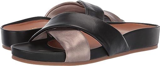 Light Bronze Metallic Leather/Black Leather