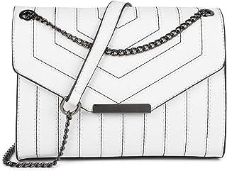 styleBREAKER Damen Umhängetasche mit Ziernähten und Kette, Schultertasche, Handtasche, Tasche 02012308, Farbe:Weiß