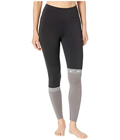 Nike All-In Color Block Swoosh 7/8 Tights (Black/Gunsmoke/Black/Black) Women