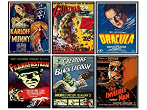 Godzilla, Dracula, The invisible Man, The Mummy, Frankenstein Wall Art & Decor - Vintage Horror Monster Movie Posters - Home Theater Set - Classic Scary Movie - Man Cave, Boys Bedroom, Teens Room