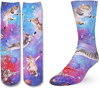 Zmart Women Girls Cat Space Pug Socks, Novelty Crazy Funny Animal Crew Tube 3D Print Socks