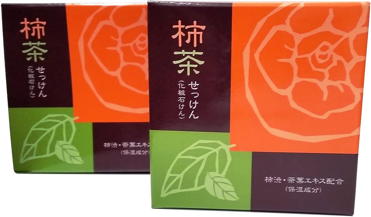 好戦的な硬化するガウン柿茶せっけん 地の塩社 2個セット 80g×2 KTソープ