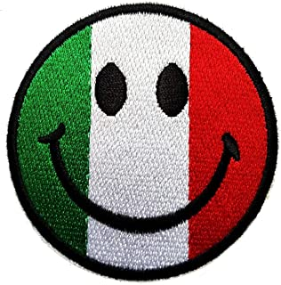 Cartoon Italian Flag Smiley Face Embroidered Patch Sew On/Iron On Patch Clothing Sewing for Kids Children Patch Emoji Emoticon Funny Smiley Smile Happy Face Applique DIY Accessory (08)
