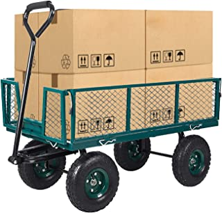 Dporticus Four-Wheel Trailer Large Folding Wagon Side Cart 560lbs Load Capacity, Handling Truck Pull for Outdoor Garden Wa...