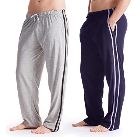 Mens Lounge Wear Trousers Tracksuit Bottoms Casual Sports Pants 2 Pack Gents Boys Grey/Navy Size M