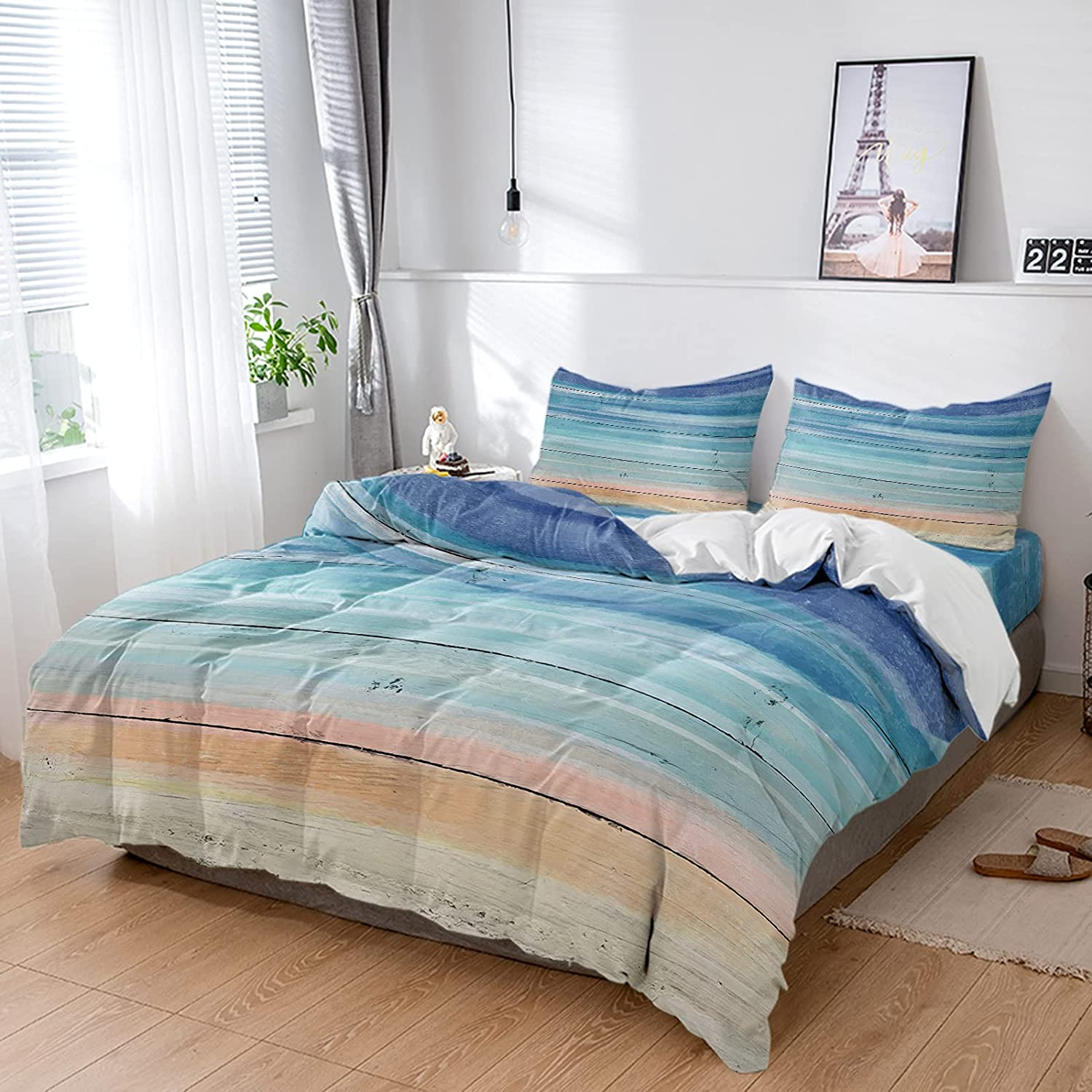 Twin 4 Pieces Duvet Cover Set Grain Special price for a limited SALENEW very popular! time Style Country Microfi Wooden