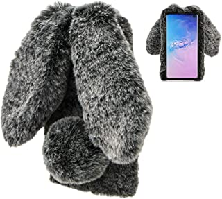 Konijn Hoes voor Samsung Galaxy S10 Plus,LCHDA Pluizig Schattige Kunstmatig konijnenbont Haar Leuk Lange Oren Pluche Zacht...