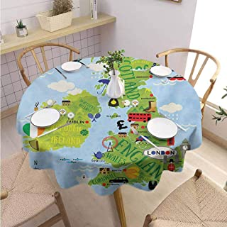 DILITECK Wanderlust Kids Round Tablecloth Cartoon Maps of Britain and Ireland Children Landmarks Illustration Table Decoration Diameter 50