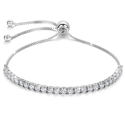 a4c5828f33de Silver Adjustable Tennis Bracelet Brilliant Cut Simulated Diamond Bracelet  Best Gifts for Valentine s Day with Elegant