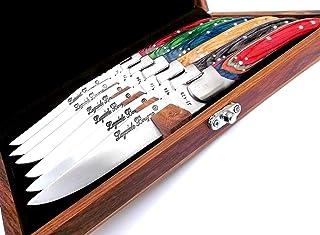 Juego de 6 cuchillos Laguiole Bougna artesanales y fabricados íntegramente a mano - Cuchillo de carne de colores con caja de madera - 6124