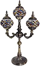 3 Head Turkish Moroccan Table Lamp Handmade Mosaic Glass Desk Lamps Tiffany Style Retro Decorative Night Lights for Bedroo...