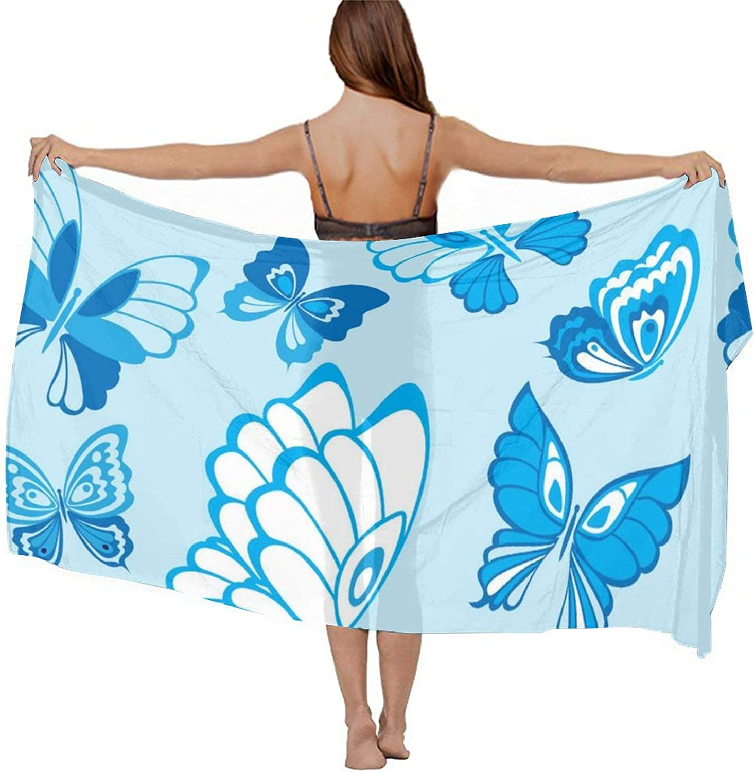 Women's Chiffon Butterfly Beach Scarf Smooth Sunscreen Wrap Shawl Scarves Bikini Cover-Up Wrap Scarf Swimsuit Sarongs Summer Beach Cover Ups