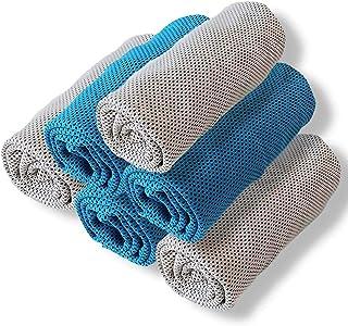 スポーツタオル 超速乾 冷感タオル ひんやりタオル 熱中症対策 アウトドア 夏 uvカット (グレー3枚・ブルー3枚(6枚組))