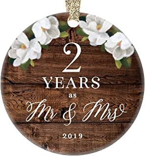 2019 Christmas Ornament 2nd Second Wedding Anniversary Keepsake Present Two Years Wed Husband Wife Married Couple Country Rustic Ceramic Collectible 3