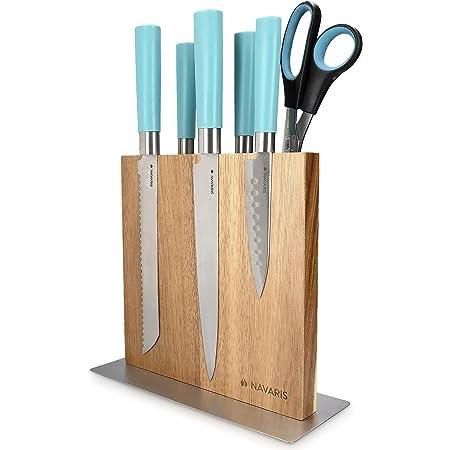 Navaris Bloc à Couteaux magnétique - Bloc aimanté Double Face en Bois d'acacia - Range Couteau de Cuisine Vide - Support Vertical avec Aimant