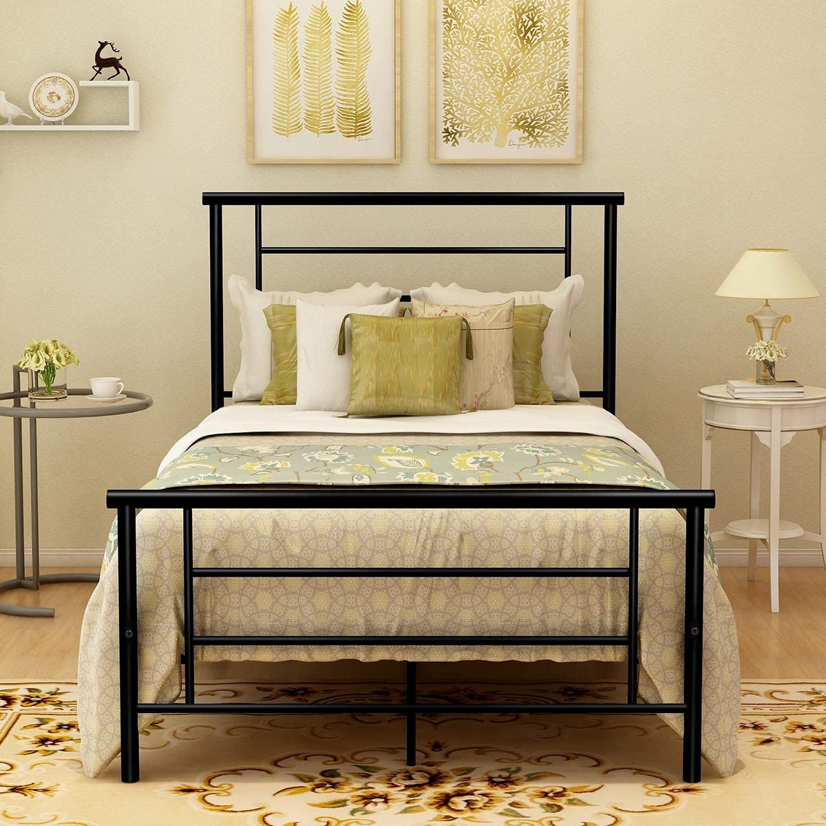 BOFENG Bed Max 56% OFF Frame Twin Size Discount mail order Storage with Footboard Headboard and