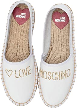 54fff89c76e White. LOVE Moschino. Studded Espadrilles.  180.00. Luxury. Black. LOVE  Moschino. Shiny Quilted ...