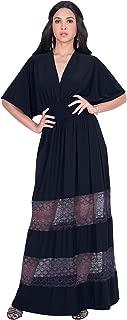 KOH KOH Womens Sexy Summer V-Neck Half Sleeve Layered Lace Maxi Dress