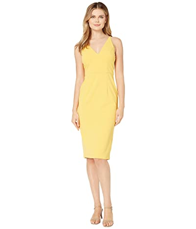 Donna Morgan Deep V-Neck Crepe Sheath Dress (Mimosa) Women